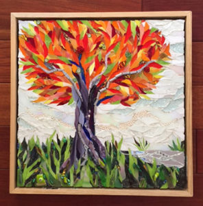 mosaic autumn tree red yellow