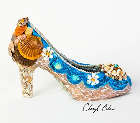 Beach shoe shell rocks mosaic