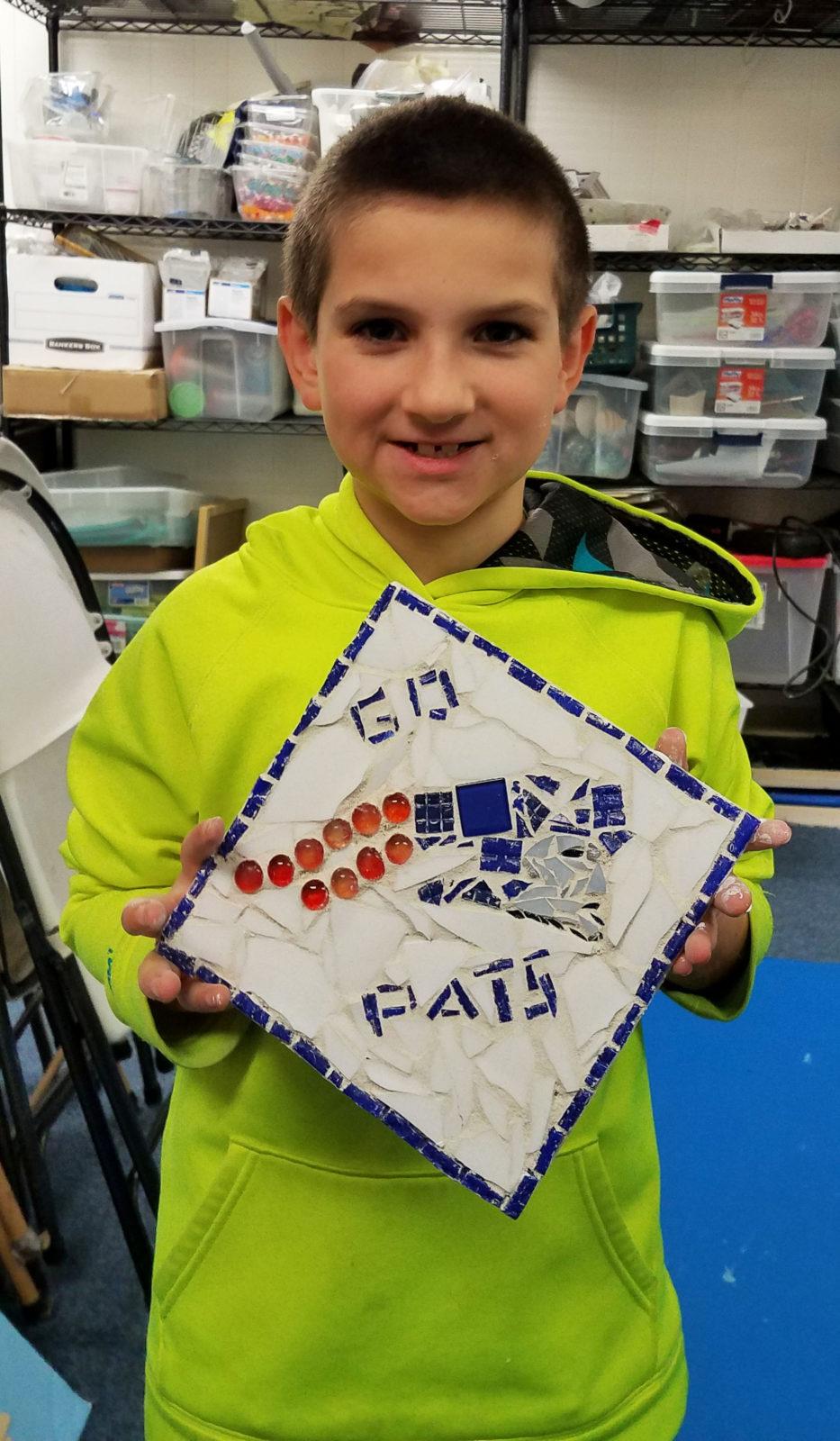patriots boy mosaic art class blue
