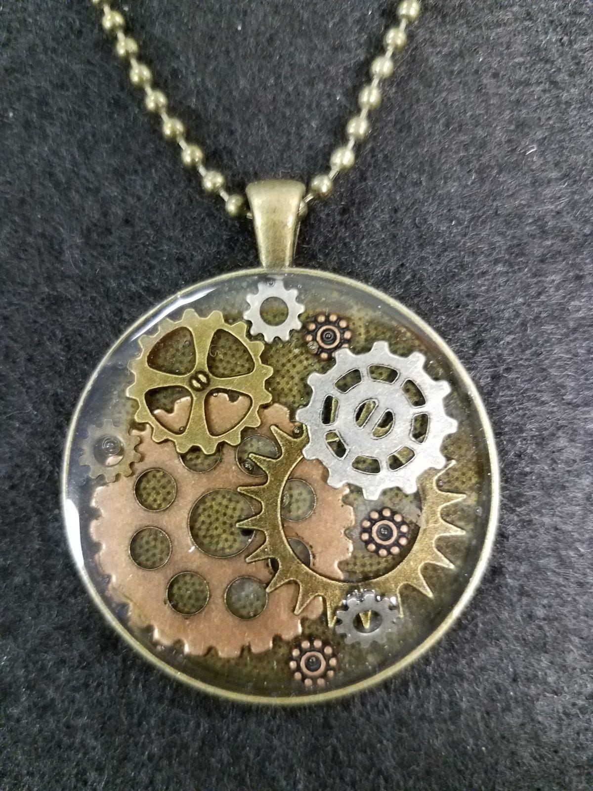 steampunk pendant antique gold