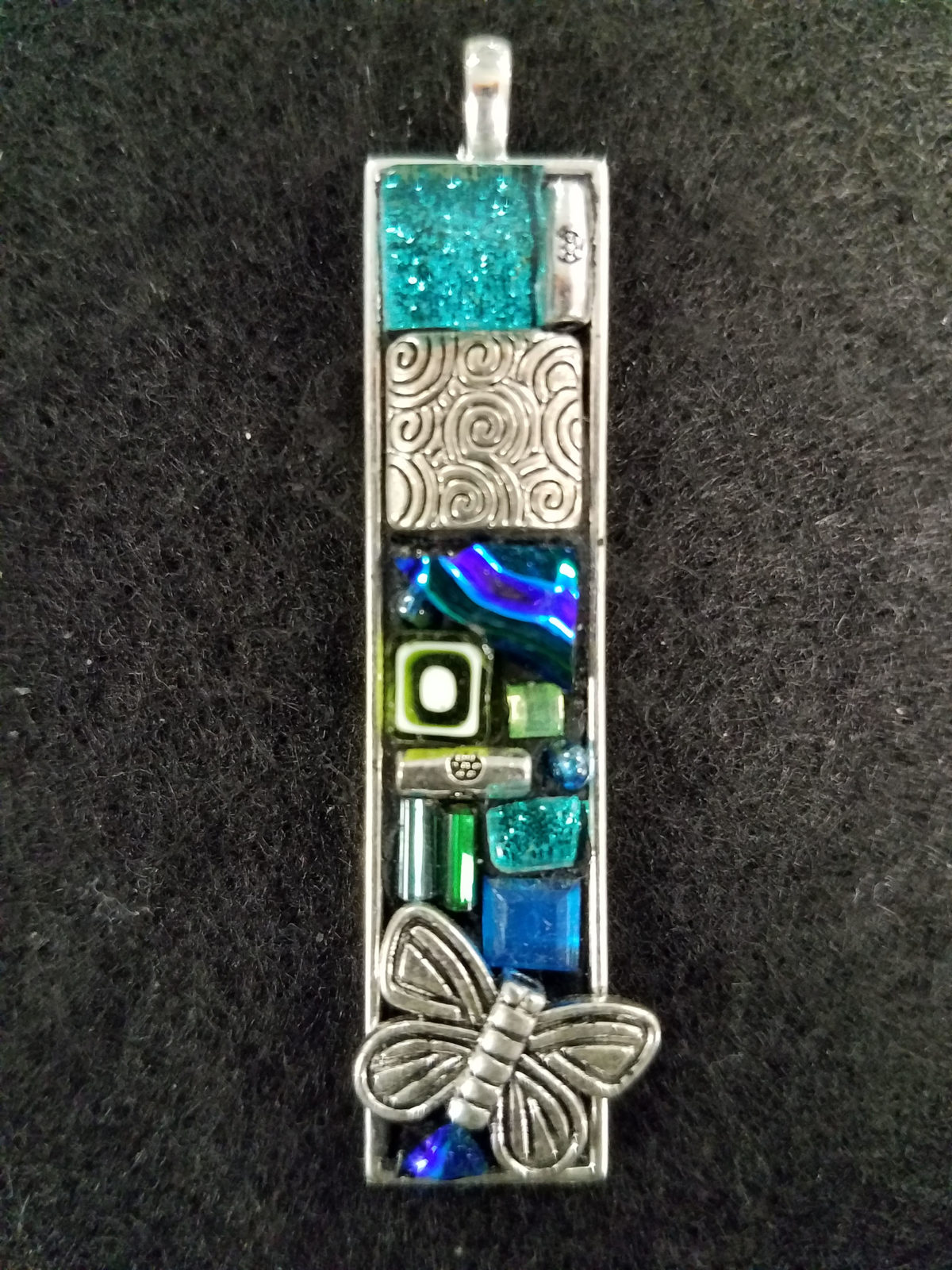 dichroic glass pendant torquoise