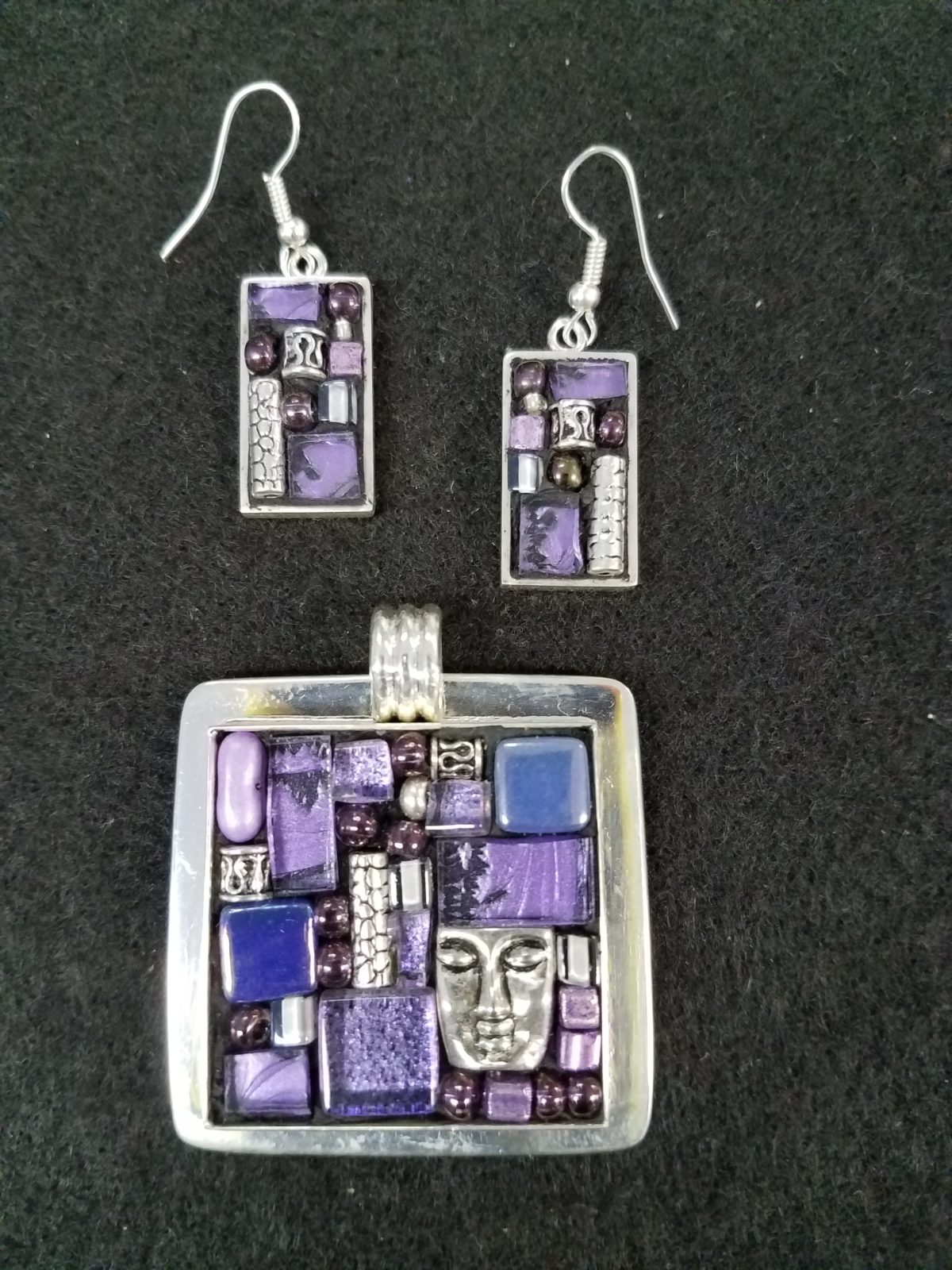 purple mosaic sterling pendant earring set
