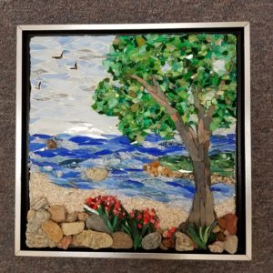 mixed media lake tree mosaic art class