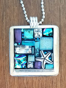 mosaic pendant glass blue beach