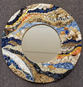 mixed media mosaic beach round