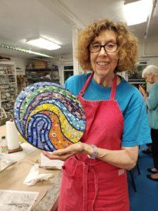 student mosaic art class