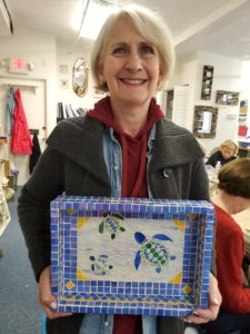 blue mosaic turtle tray, adult class