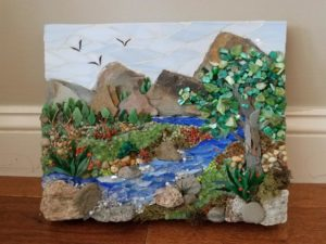 mixed media river mountain tree mosaic art class