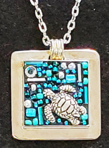 pendant sterling mosaic blue turtle