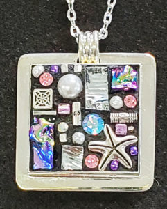 mosaic pendant sterling pink