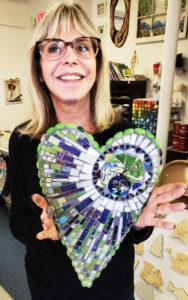 mosaic art class adult heart
