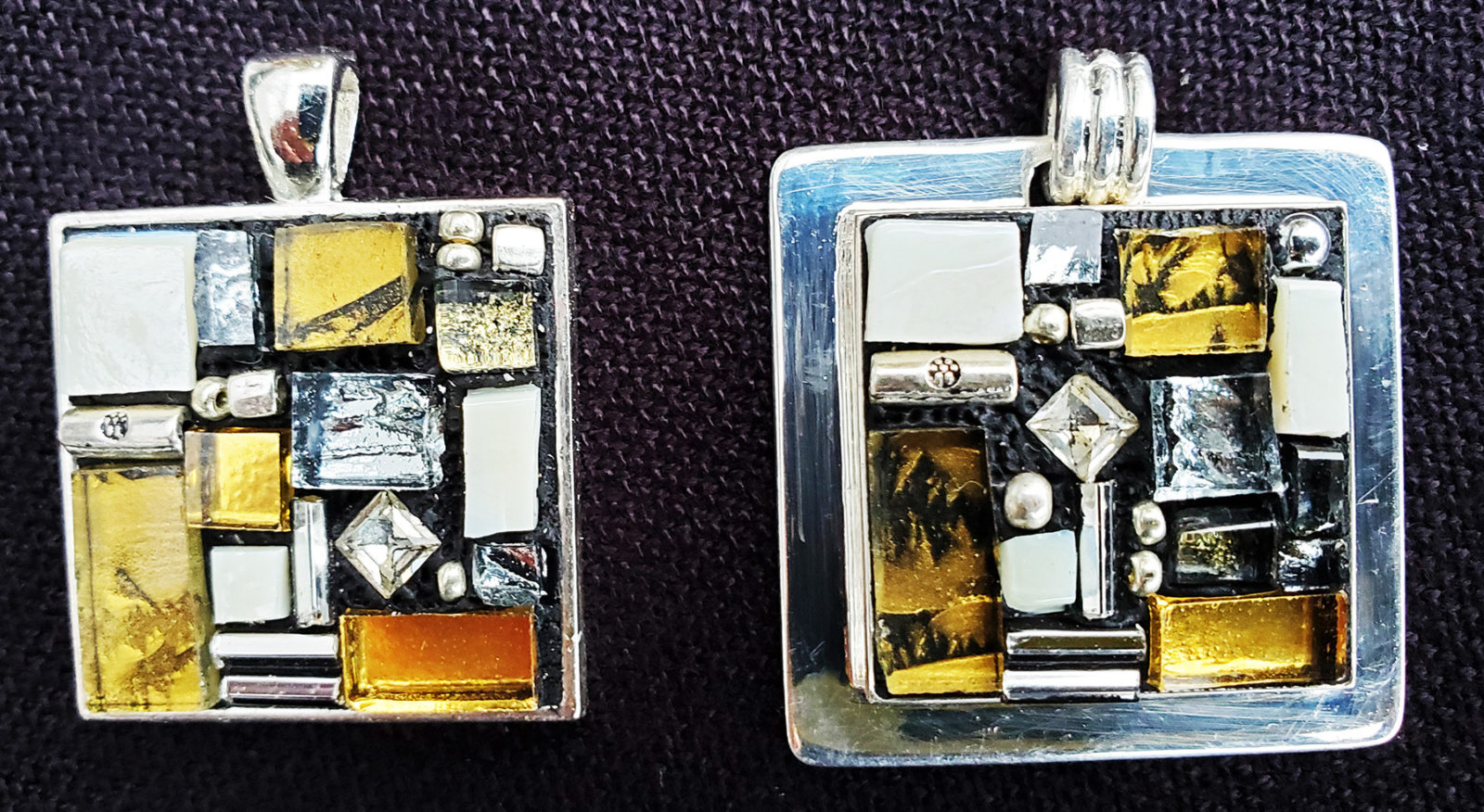 gold mosaic pendant